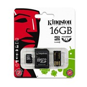 SD MICRO KINGSTON 16GB (C/ ADP SD+ ADP USB)
