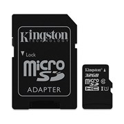 SD KINGSTON 32GB MICRO SDHC CANVAS SELECT 80R CL10 UHS-I CARD C/ADAPTER