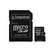 SD KINGSTON 64GB MICRO SDHC CANVAS SELECT 80R CL10 UHS-I CARD C/ADAPTER