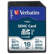 VERBATIM SD CARD 16GB PRO SECURE DIGITAL (SDHC) CLASS 10/ UHS 1