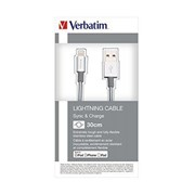 VERBATIM CABLE LIGHTNING SYNC CHARGE IPOD/IPHONE/IPAD 30CM SILVER